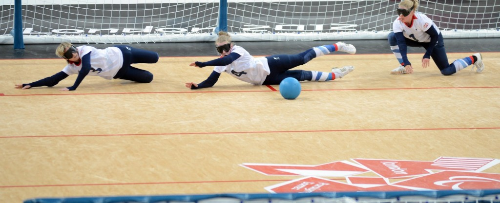 Finland v Great Britain at Goalball at the Paralympic Games in London. Pictured Paralympics London 2012 - ParalympicsGB - Goalball ....Copper Box.. Date 31/08/2012 (Clare Green/ParalympicsGB)