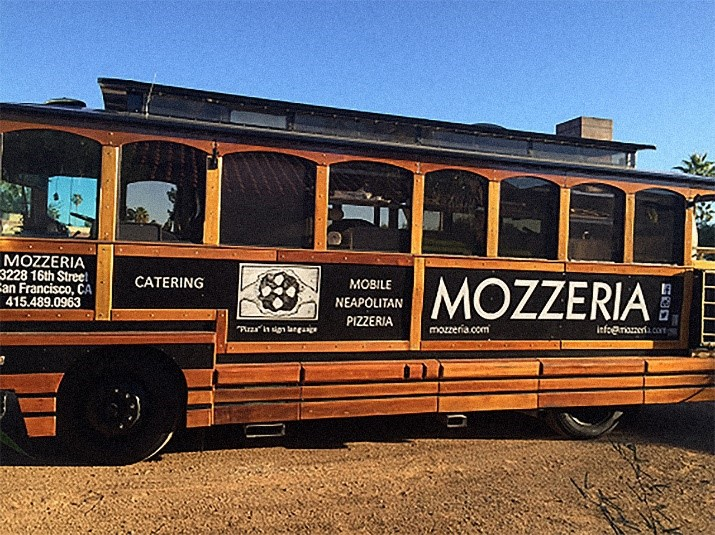 Mozzeria's owners last year sought to introduce its pizza to a larger audience, so took a three-week tour across the country in a custom trolley, which is now being used as a makeshift food truck.
