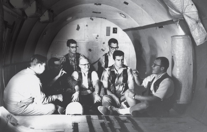 Deaf test subjects prepare for zero-gravity flight.